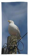 Seagull Perching. Hand Towel