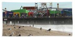 Seagulls And Ferris Wheel Hand Towel