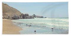 Seagulls In The Surf Bath Towel
