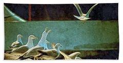 Seagulls On The Beach Bath Towel