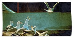 Seagulls On The Beach Hand Towel