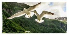 Seagulls Over The Fjord Bath Towel by KG Thienemann