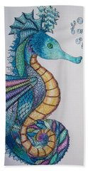 Hand Towel featuring the digital art Seahorse Series 5 by Megan Walsh