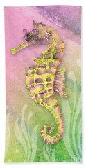 Seahorse Violet Hand Towel by Amy Kirkpatrick