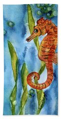 Seahorse With Sea Grass Hand Towel