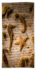 Seahorses And Starfish On Old Letter Hand Towel