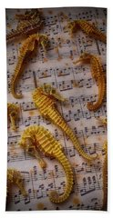 Seahorses On Sheet Music Hand Towel