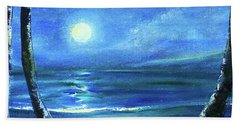 Seascape With A Moon Hand Towel