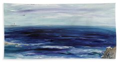 Seascape With White Cats Bath Towel