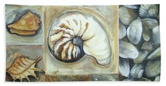 Hand Towel featuring the painting Seashells by Chris Hobel