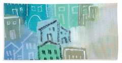 Seaside City- Art By Linda Woods Bath Towel