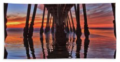 Seaside Reflections Under The Imperial Beach Pier Hand Towel