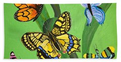 Bath Towel featuring the painting Season Of Butterflies by Donna Blossom