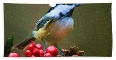 Seasons Greetings Chickadee Bath Towel by Tina LeCour