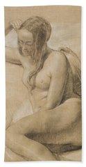 Seated Female Nude Bath Towel