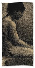 Seated Nude Study For Une Baignade Hand Towel