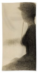 Seated Woman With A Parasol Study For La Grande Jatte Hand Towel