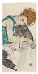 Seated Woman With Bent Knee Bath Towel