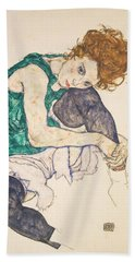 Seated Woman With Legs Drawn Up Hand Towel