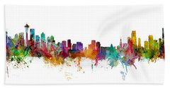 Seattle And Miami Skylines Mashup Bath Towel