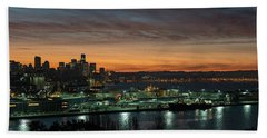 Seattle Early Morning Sunrise Panorama Hand Towel by Mike Reid
