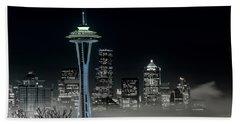 Seattle Foggy Night Lights In Bw Hand Towel