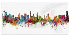Seattle, Honolulu And Miami Skylines Mashup Bath Towel