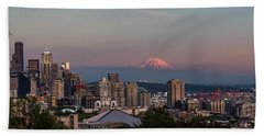 Hand Towel featuring the photograph Seattle Skyline And Mt. Rainier Panoramic Hd by Adam Romanowicz