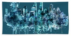 Seattle Skyline Monochrome Watercolor Hand Towel