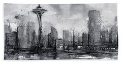 Seattle Skyline Painting Watercolor  Bath Towel