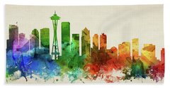 Seattle Skyline Panorama Uswase-pa03 Hand Towel by Aged Pixel