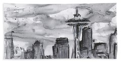 Seattle Skyline Space Needle Hand Towel by Olga Shvartsur