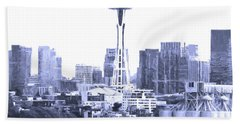 Seattle Skyline Splash And Dash In Blue Hand Towel