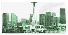 Seattle Skyline Splash And Dash In Green Hand Towel