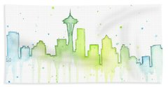 Seattle Skyline Watercolor  Bath Towel