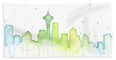 Seattle Skyline Watercolor  Bath Sheet by Olga Shvartsur