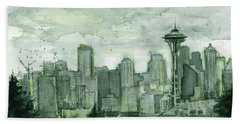 Seattle Skyline Watercolor Space Needle Hand Towel by Olga Shvartsur