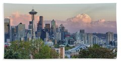 Seattle Washington City Skyline At Sunset Bath Towel