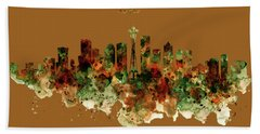 Bath Towel featuring the mixed media Seattle Watercolor Skyline Poster by Marian Voicu