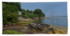 Seaweed Covered Rocks On The Coast Of Bustin's Island Bath Towel by DejaVu Designs