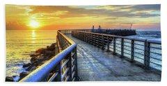Sebastian Inlet Pier Along Melbourne Beach Bath Towel