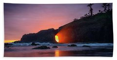 Hand Towel featuring the photograph Second Beach Light Shaft by Dan Mihai
