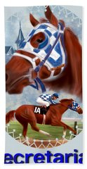Secretariat Racehorse Portrait Bath Towel