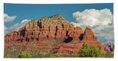 Bath Towel featuring the photograph Sedona, Rocks And Clouds by Bill Gallagher