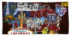 See The Usa Vintage Travel Map Recycled License Plate Art Of American Landmarks Hand Towel
