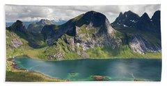 Segltinden And Kirkefjord From Brunakseltind Bath Towel
