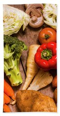 Selection Of Fresh Vegetables On A Rustic Table Hand Towel