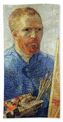 Bath Towel featuring the painting Self Portrait As An Artist by Van Gogh