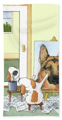 Self Portrait, German Shepherd Bath Towel