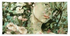 Self Portrait With Aplle Flowers Bath Towel by Vali Irina Ciobanu